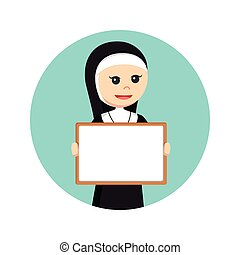 nun holding whiteboard in circle background