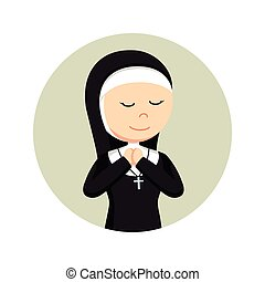 nun praying in circle background