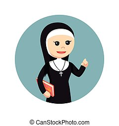 nun holding bible in circle background