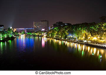 Guilin City Centre at Night - Night image of Guilin City...