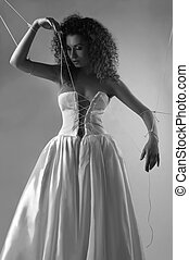 Bride tied with rope