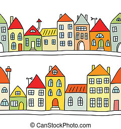 Seamless vector background with houses - Seamless vector...