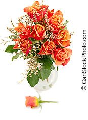 bunch of orange roses isolated on white
