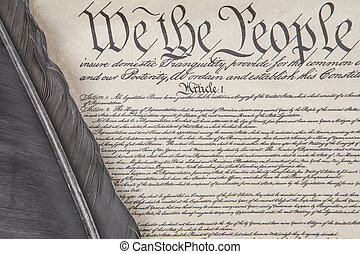 Constitution Crop with Feather Pen - Close crop of the...