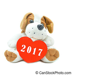 Cute beagle puppy doll showing red heart with new year wishing 2017