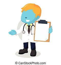 blue boy doctor holding clipboard