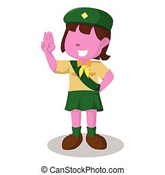 pink girl scout salute