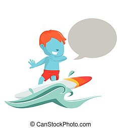 blue boy surfing with callout