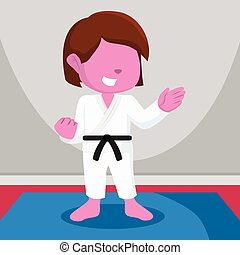 pink color girl karate
