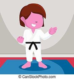 pink color girl karate