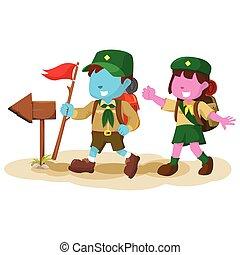 blue boy scout following arrow sign