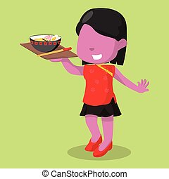pink girl chinese serving noodle