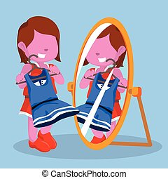 pink girl looking at the mirror
