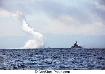 Fight of the sea ships - Day of marine sea fleet in Russia