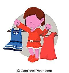pink girl getting confused choosing dress