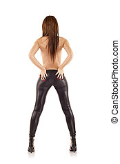 woman wearing leather pants