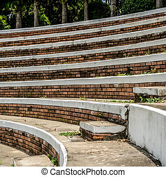Old curve concrete grandstand - Curve of old concrete...