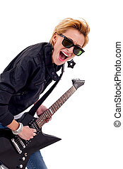girl with sunglasses playing guitar