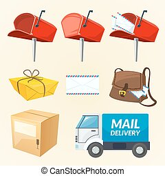 Mail delivery set of elements, vector illustration - Mail...