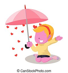 pink girl raining heart inside umbrella