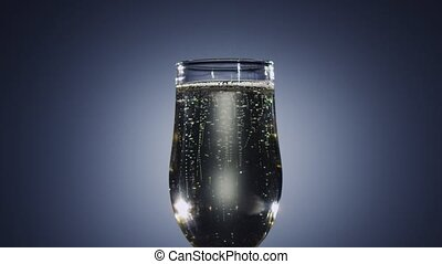 Champagne wine sparkling in a tall glass. Slow motion,...