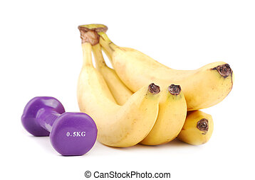 Banana and dumbbells of various colours. To apply in common.