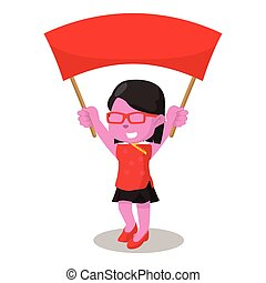 pink chinese girl holding banner