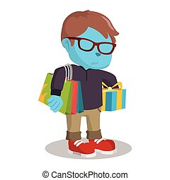blue boy carrying shoping bag and gift