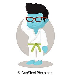 breen belt blue karate boy