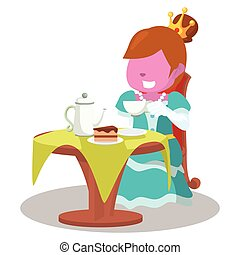 pink princess drinking tea and eating cake