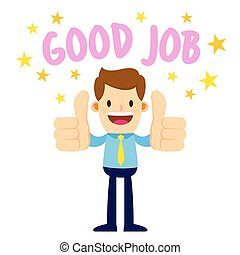 Businessman With Two Thumbs Up Saying Good Job