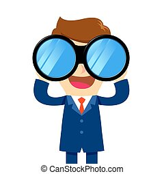 Businessman looking through binocular - Vector stock of a...