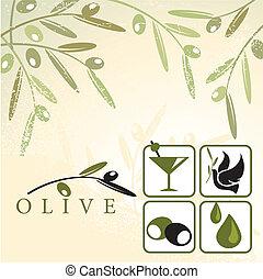 Olive design elements - Vector illustration of olives retro...