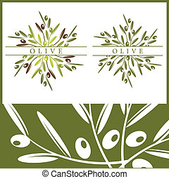 Olive pattern and elements - Vector illustration of olives...