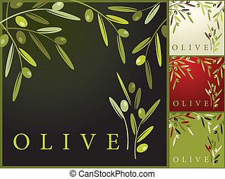 Olives retro patterns - Vector illustration of olives retro...