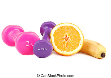 Banana and dumbbells of various colours To apply in common