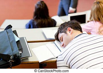 adormecido, macho, estudante, durante, universidade,...