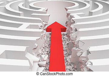 3d rendering of a maze with a red arrow borrowing to the center in closeup view.