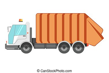Garbage removal service dumpster dustcart truck vector flat...
