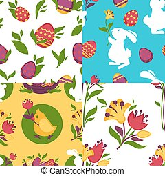Easter pattern paschal eggs, bunny seamless backgrounds set...