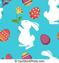 Easter paschal eggs and bunny seamless pattern vector...