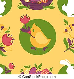 Easter pattern paschal eggs, bunny and chick seamless vector...