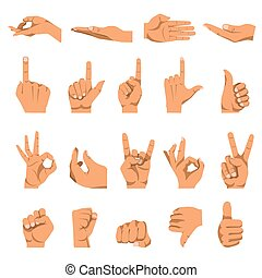 Hand and finger gestures vector flat isolated icons set -...