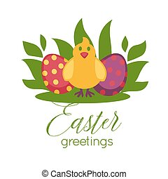 Easter greeting card vector paschal eggs and chick - Easter...