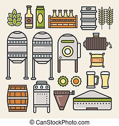 Beer brewery factory production line elements vector icons -...