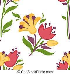 Easter paschal seamless spring flowers pattern vector flat...