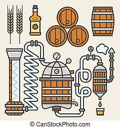 Whiskey production line or whisky making elements vector...