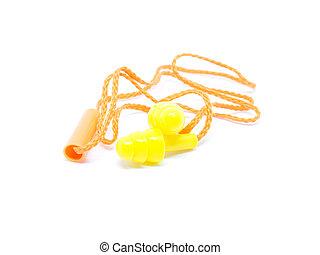Close-up orange ear plugs on white background.