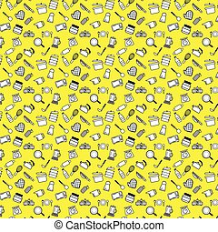 Kitchenware outline icons pattern for tools and appliances equipment isolated vector illustrations on yellow background