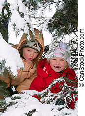 Children in winter park